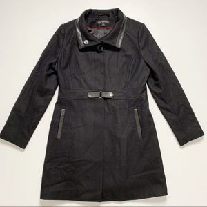 Via Spiga Black Wool Blend Long Jacket Size 12